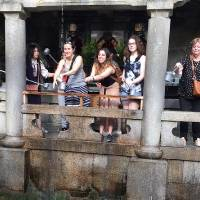 Students posing at Kiyomizu temple in Kyoto